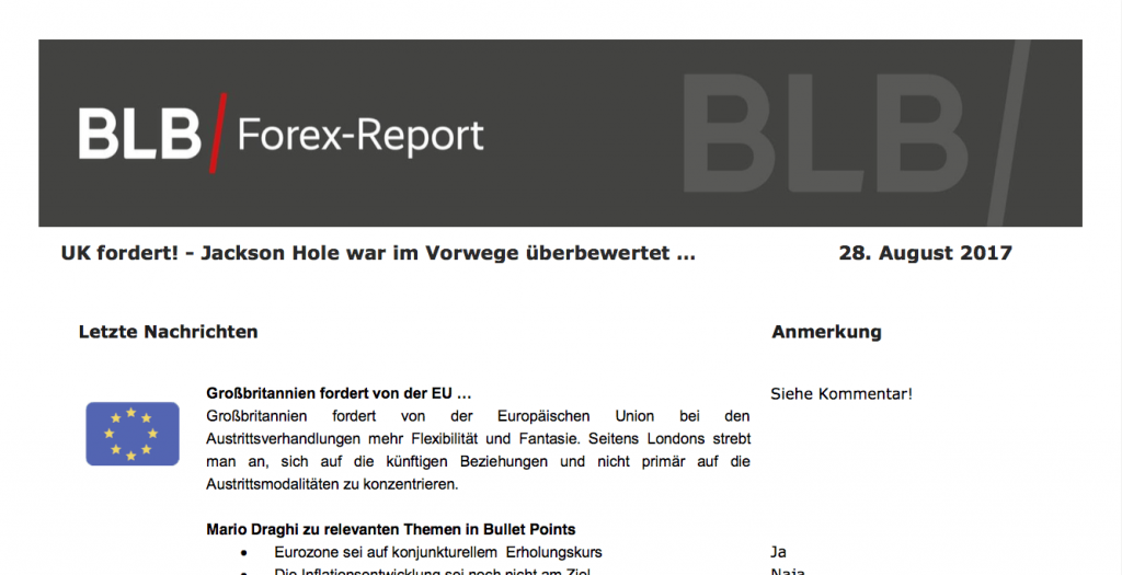 BLB Forex Report 28.8.17