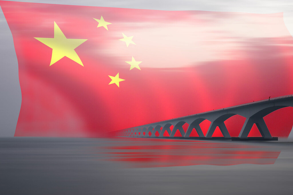 china flagge brücke